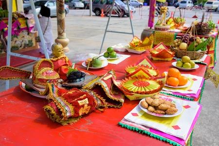 chonburi: CHONBURI, THAILAND - OCTOBER 15, 2015: The special offerings to god in vegetarian festival in Chonburi, Thaialand. Editorial