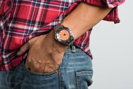 calibre: closeup luxury watch on mans wrist