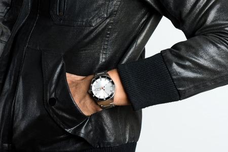 closeup luxury watch on man's wrist