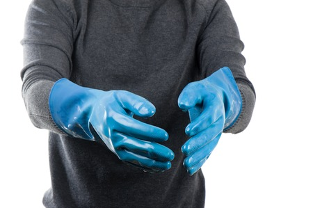 rubber glove: the blue rubber glove wet after use