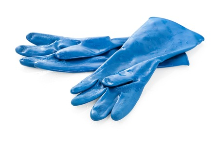 sanitize: wet blue rubber glove isolated on white background