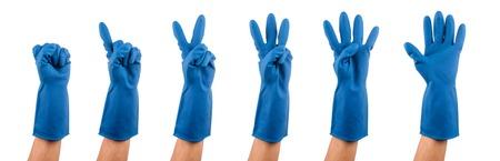 rubber glove: Hand gestures in blue rubber glove