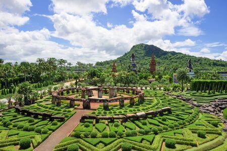 chonburi: CHONBURI, THAILAND - AUGUST 08, 2015: Beautiful garden decoration in Nong Nooch Tropical Botanical Garden. Nong Nooch Tropical Botanical Garden is a 500-acre botanical garden in Chonburi, Thailand. Editorial
