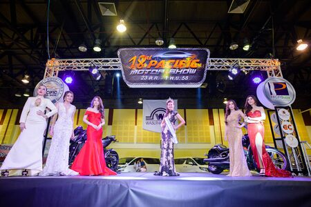 pageant: CHONBURI, THAILAND - OCTOBER 31, 2015: Nantawan Ruengrit (the 2nd Runner-Up of Miss Thailand World 2015) in 18th Pacific Motor Show. Miss Thailand World is a national pageant.