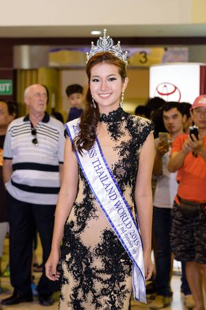 celeb: CHONBURI, THAILAND - OCTOBER 31, 2015: Portrait of Nantawan Ruengrit nickname Tang Kwa (the 2nd Runner-Up of Miss Thailand World 2015). Miss Thailand World is a national pageant. Editorial