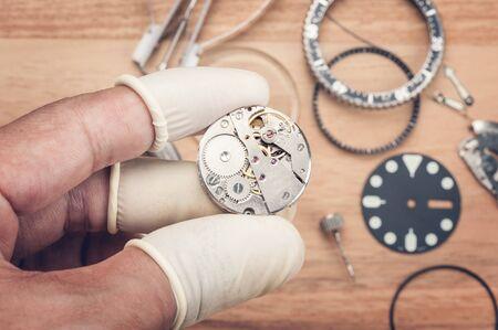 wristwatch: closeup the parts of automatic wristwatch