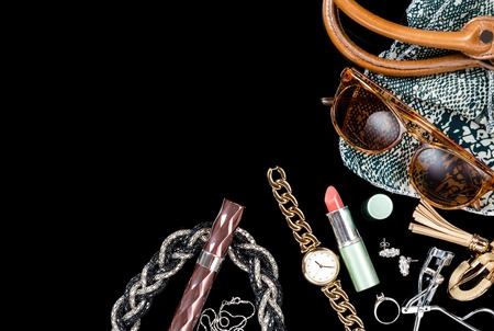 pendent: woman accessories on black background