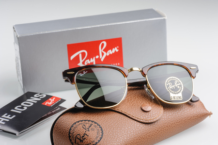 ray ban: BANGKOK, THAILAND - DECEMBER 16, 2015: The Ray-Ban Club Master RB3016 W0366 -Tortoise. Ray-Ban is a brand of sunglasses and eyeglasses founded in 1937 by American company Bausch & Lomb.