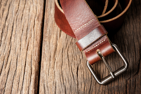 buckle: brown leather belt with metal buckle Stock Photo