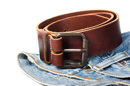 leather belt: brown leather belt with metal buckle Stock Photo