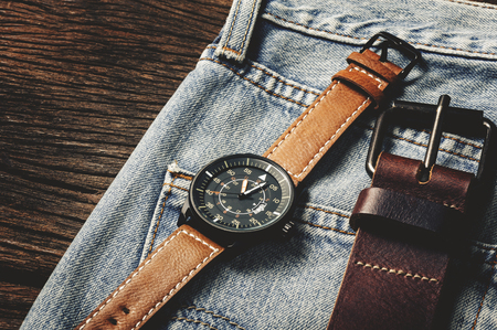 military watch: military style watch with brown leather strap