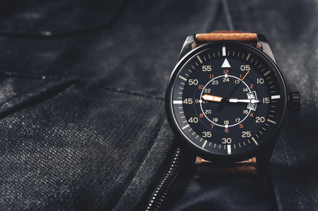 calibre: military style watch with brown leather strap