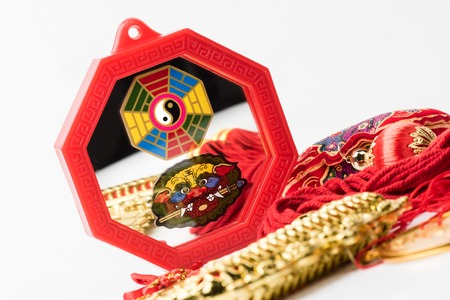 Octagon mirror or Feng Shui Bagua Mirror, Chinese use to repel negative energy. Stock Photo