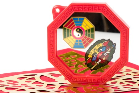 trigram: Octagon mirror or Feng Shui Bagua Mirror, Chinese use to repel negative energy. Stock Photo