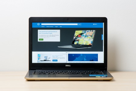 BANGKOK, THAILAND - FEBRUARY 02, 2016: The new Dell Vostro 5459 (Gold) notebook opening Dell official website.