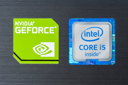 intel: BANGKOK, THAILAND - FEBRUARY 03, 2016: Closeup 6th generation of Intel CORE i5 inside sticker and NVIDIA GeForce sticker on laptop.