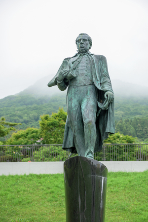 perry: HOKKAIDO, JAPAN - JULY 19, 2015: Matthew C. Perry statue standing in Motomachi district. Matthew C. Perry is a person to urge Japan to open the county in 1853.
