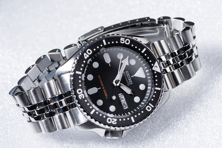 BANGKOK, THAILAND - FEBRUARY 18, 2016: The SEIKO Divers 200m Automatic SKX007 with 7S26 movement and jubilee bracelet. Editorial