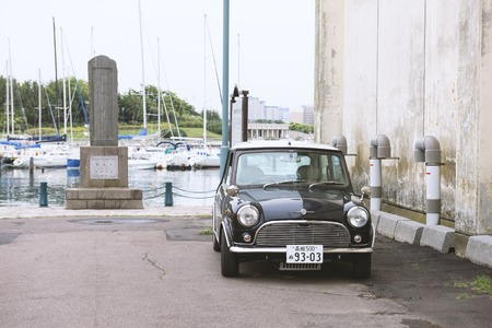 morris: HOKKAIDO, JAPAN - JULY 19, 2015: An unidentified model of black mini car from Morris Cooper at Hakodate, Hokkaido, Japan. Editorial