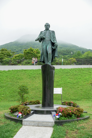 HOKKAIDO, JAPAN - JULY 19, 2015: Matthew C. Perry statue standing in Motomachi district. Matthew C. Perry is a person to urge Japan to open the county in 1853.