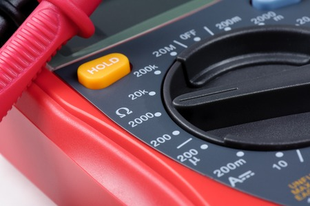 switched: multimeters selector switched to Resistance Measurement Stock Photo