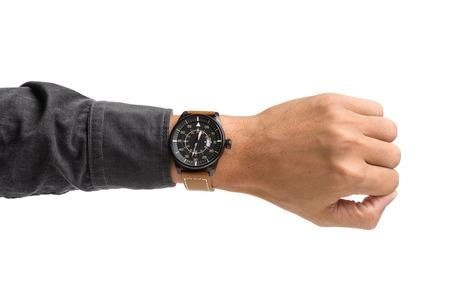luxury watch: luxury watch on mans wrist over white background