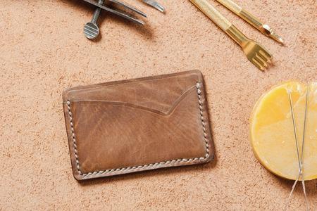 workmanship: mens accessory, handmade minimalist brown leather wallet