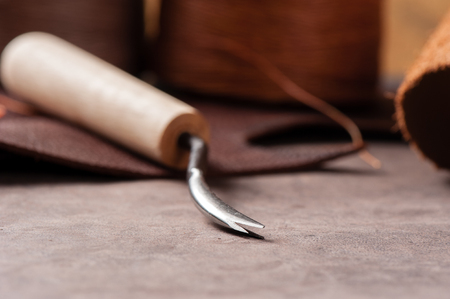 handtools: The V-Gouge for leather working Stock Photo