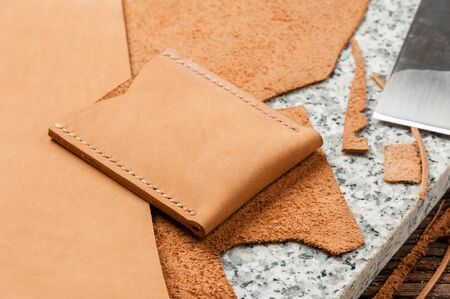 product from nubuck leather, closeup details of brown nubuck leather