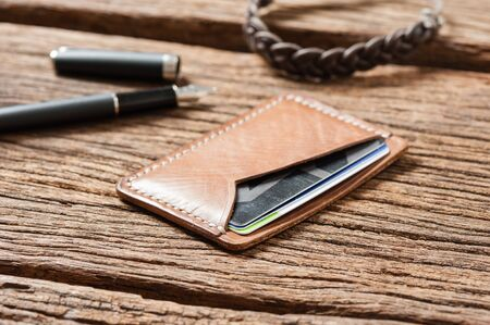 mens accessory, handmade minimalist brown leather wallet