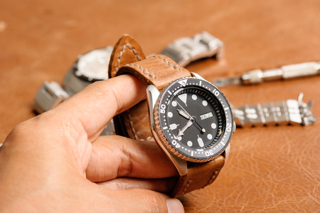 luxury watch: closeup luxury watch with handmade brown leather watch strap