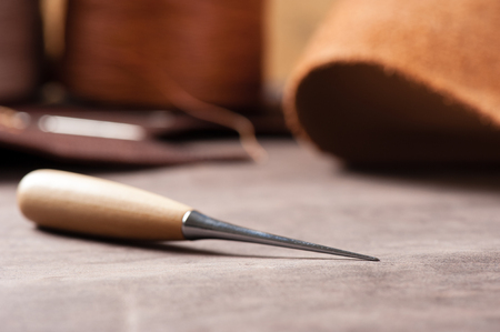 The awl for leather working Stock Photo