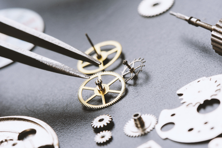 escapement: closeup the parts of automatic wristwatch