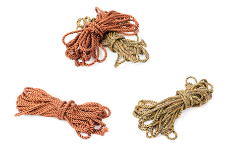 closeup brown polyester rope, Synthetic fibres rope Stock Photo
