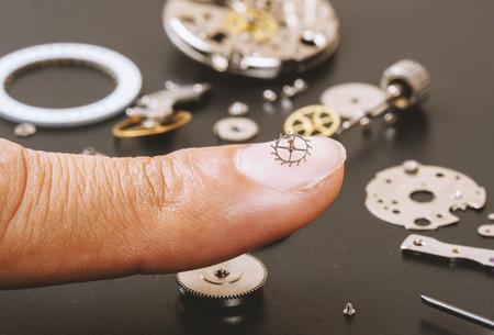 escapement: closeup the parts of automatic wristwatch, Escapement Stock Photo