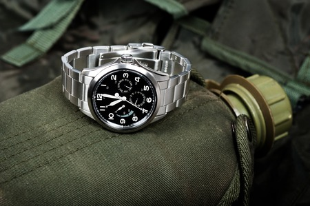 calibre: Closeup military or field style wristwatch, luxury automatic wristwatch for men