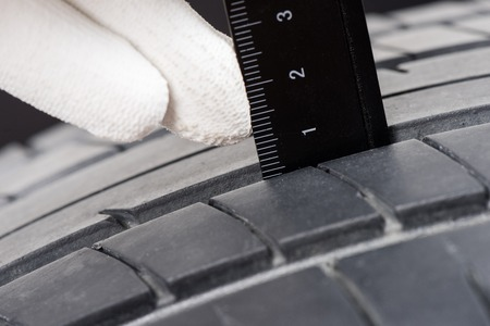 depth measurement: checking the depth of car tire tread