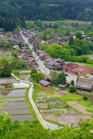 Shirakawago (Shirakawa Village) world heritage village in summer. Shirakawago is a village located in Gifu Prefecture, Japan. Stock Photo