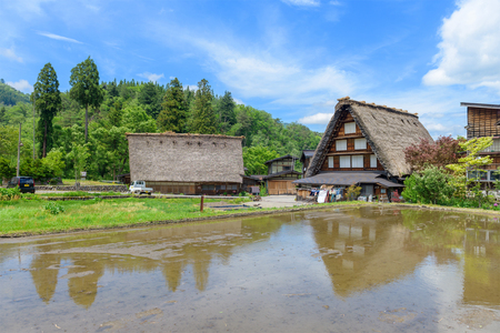 Shirakawago (Shirakawa Village) world heritage village in summer. Shirakawago is a village located in Gifu Prefecture, Japan. Editorial