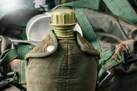 plastic soldier: The military water canteen, military water bottle Stock Photo