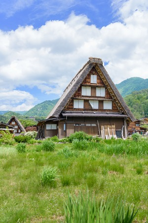 gassho zukuri: GIFU, JAPAN - MAY 16, 2016: View of Shirakawago (Shirakawa Village) world heritage village in summer. Shirakawago is a village located in Gifu Prefecture, Japan. Editorial