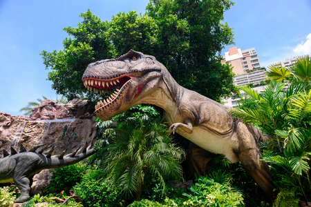 BANGKOK, THAILAND - JULY 21, 2016: Dinosaur in DINOSAUR Planet, a dinosaur theme park in downtown Bangkok, Thailand. Editorial