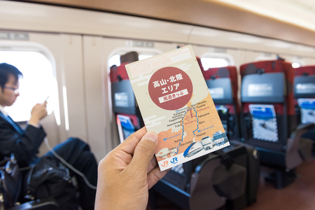 thunderbird: TAKAOKA, JAPAN - MAY 15, 2016: Takayama-Hokuriku Area Tourist Pass. Unlimited rides on limited express of JR lines for visiting Gero-Onsen, Takayama, Toyama, Kanazawa, Kaga-Onsen. Editorial