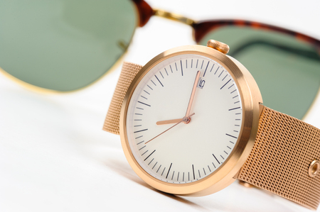 calibre: closeup fashion wristwatch, beautiful wristwatch for unisex Stock Photo