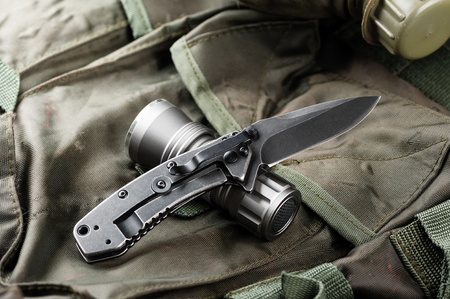 stainless steel pocketknife with blackwash finish on blade and handle Imagens