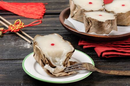 Nian Gao or Chinese new years cake or year cake, Nian Gao is a food prepared from glutinous rice and consumed in Chinese cuisine. Stock Photo