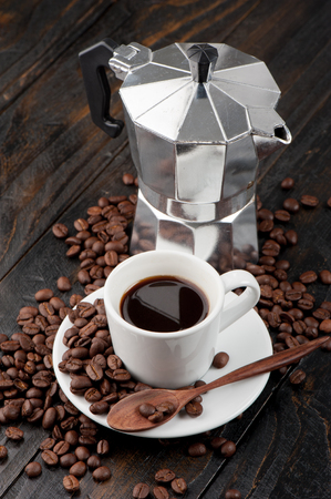 stovetop: the Coffee lover concept, a cup of espresso