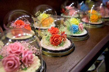 HOKKAIDO, JAPAN - JULY 22, 2015: Beautiful sugarcrafts at Sugar Craft Studio inside Ishiya Chocolate Factory in Sapporo, Hokkaido, Japan. Editorial