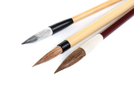 traditional writing brush isolated on white background, Japanese writing brush, Chinese writing brush