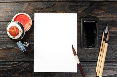 asia traditional desktop background, writing brush, inkstone